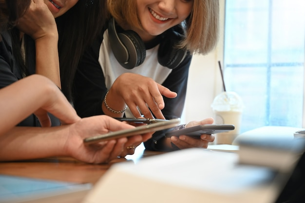 Young group of woman digital device technology connecting.