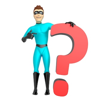 A young guy in the costume of a superhero who laid his hand on the question mark. 3d illustration