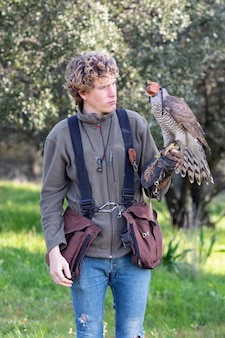 Young guy practicing flanconry with a beautiful specimen of goshawk