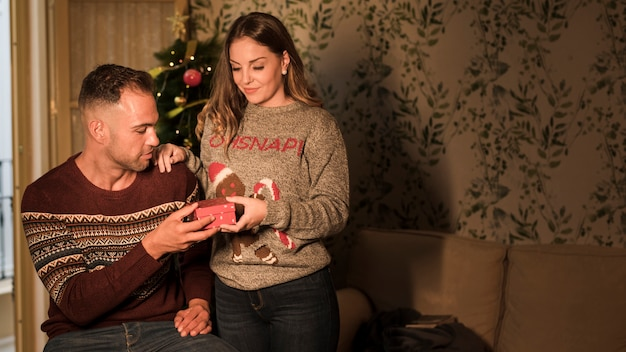 Young guy with red gift box and cheerful lady on settee near christmas tree