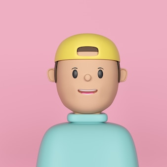 Young guy with yellow cap and light blue top render in pink background