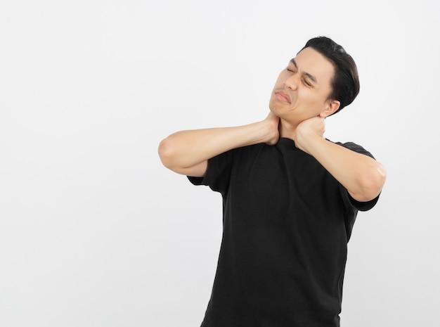 Young handsome asian man neckache