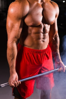 Young handsome bodybuilder sportsman working out with a barbell in gym, doing biceps training