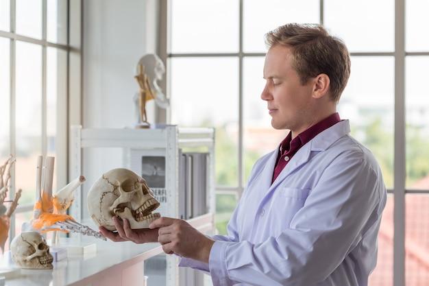 Молодой красивый кавказский врач человек исследует скелет человеческого тела в офисе в больнице.