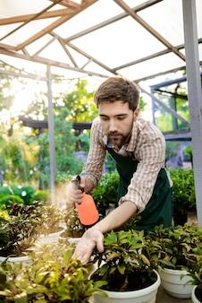 웃고, 물을주고, 식물을 돌보는 젊은 잘 생긴 명랑 정원사