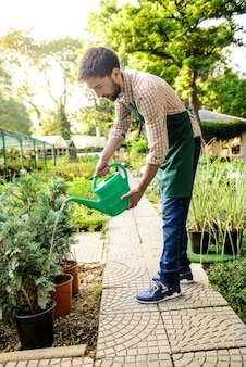 Young handsome cheerful gardener smiling, watering, taking care of plants