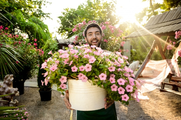 Young handsome gardener smiling, holding big pot with flowers