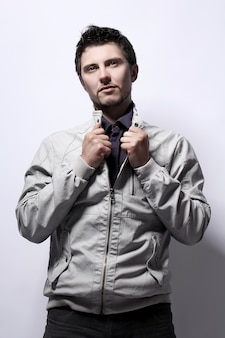 Young handsome guy in jacket