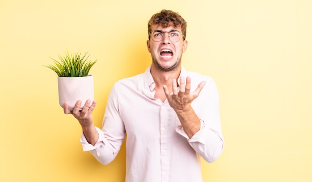 Young handsome man looking desperate, frustrated and stressed. decorative plant concept