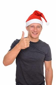 크리스마스를위한 준비 잘 생긴 젊은이