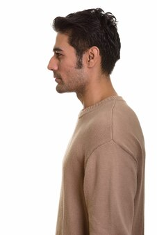 Молодой красивый персидский мужчина на белом