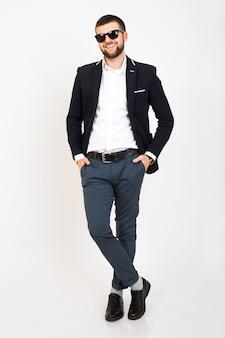 Giovane bell'uomo hipster alla moda in giacca giovane