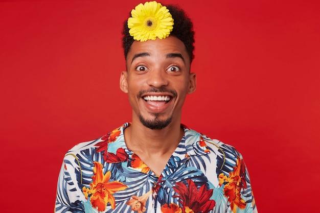 若い幸せな驚きのアフリカ系アメリカ人の男は、アロハシャツを着て、幸せな表情でカメラを見て、髪に黄色い花をつけ、赤い背景の上に立っています。