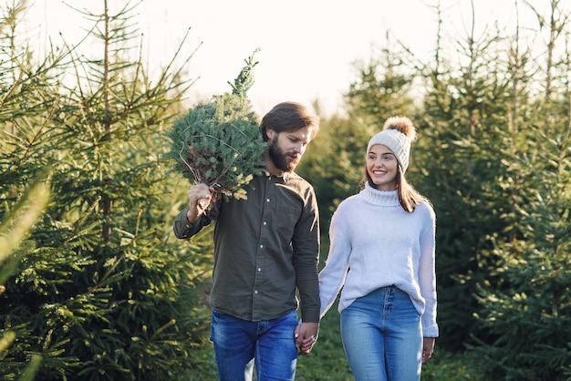 若い幸せなカップルは、休日を準備するプランテーションで新鮮なクリスマスツリーを購入しました。幸せな冬の休日のコンセプト。
