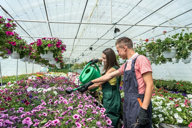 Young happy couple working watering plants with a watering can in the flower center
