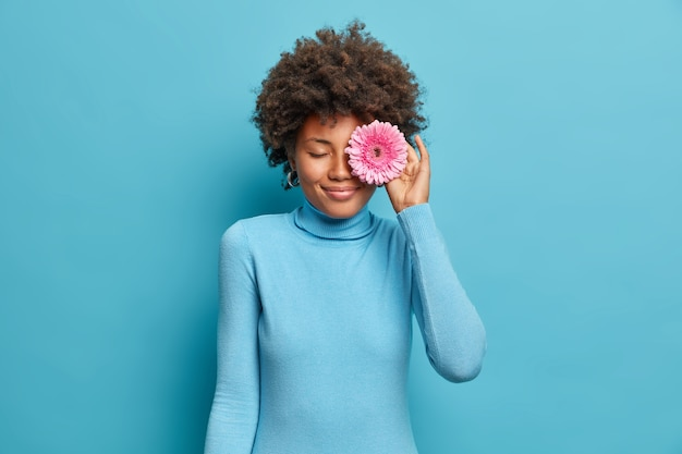 Young happy dark skinned woman covers eye with gerbera daisy, picks flowers from field, going to decor room, dressed in casual blue turtleneck