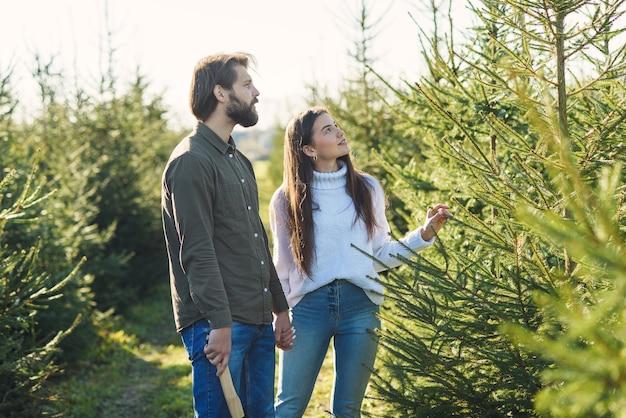 겨울 휴가를 준비하는 농장에서 크리스마스 트리를 선택하는 젊은 행복 한 가족.
