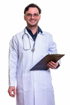 Young happy man doctor smiling while holding clip