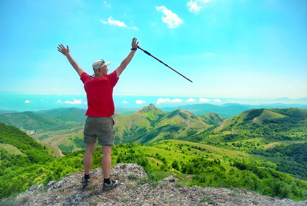 Young happy man with hiking stick standing on the rock with raised hands and looking to green landscape