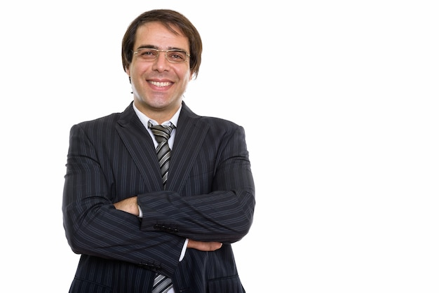 Young happy persian businessman smiling