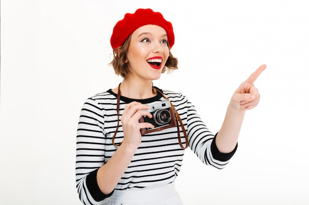 Young happy photographer woman