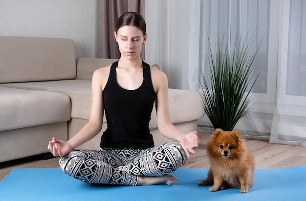 Young healthy beautiful woman in sports undershirt and leggings practicing yoga at home, sitting in lotus position on yoga mat, meditating, smiling relaxed with closed eyes, dog sits next to