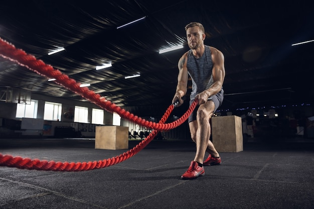 Young healthy man, athlete doing exercise with the ropes in gym. single male model practicing hard and training his upper body. concept of healthy lifestyle, sport, fitness, bodybuilding, wellbeing.