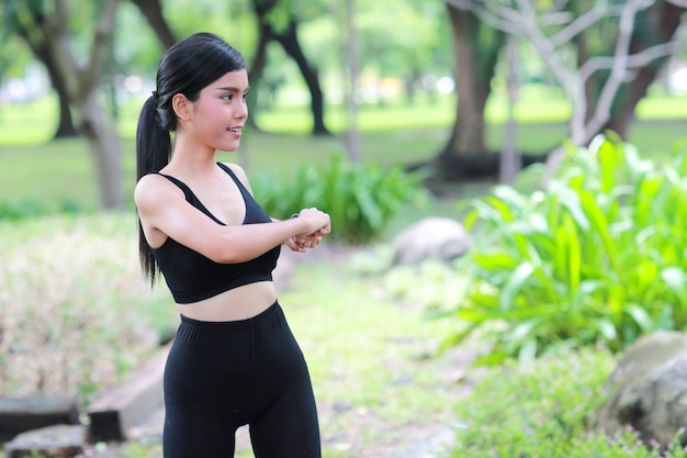 Young healthy and sporty woman do exercise outdoor