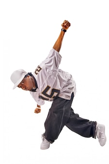 Young hip-hop dancer on white