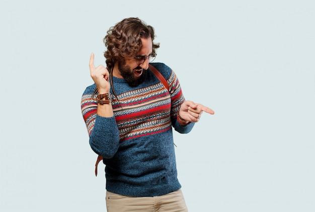 Young hippie man dancing