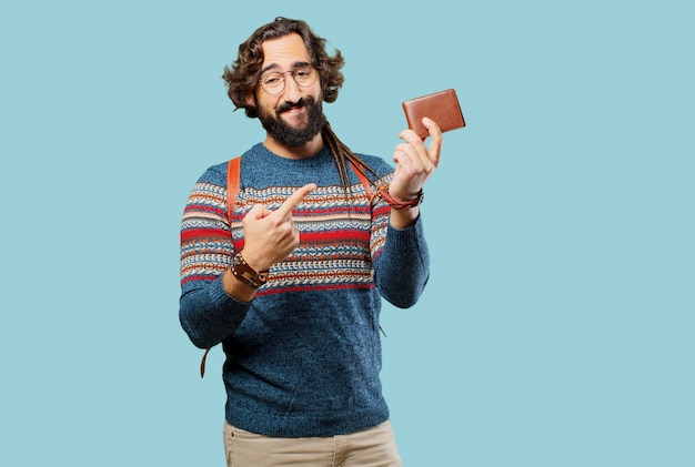 Young hippie man with a wallet