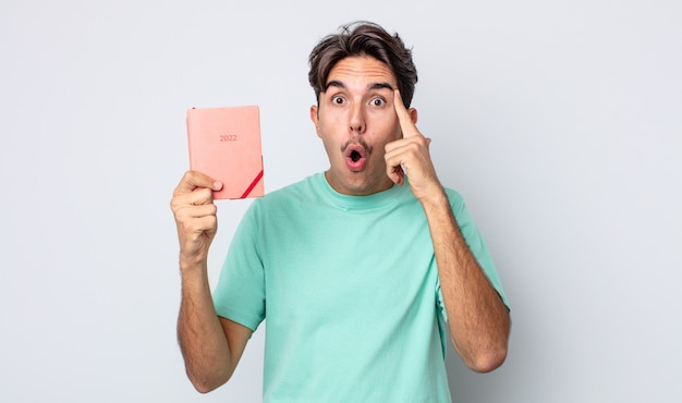 Young hispanic man looking surprised, realizing a new thought, idea or concept. 2022 planner concept