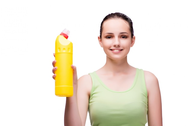 Young housewife in cleaning concept