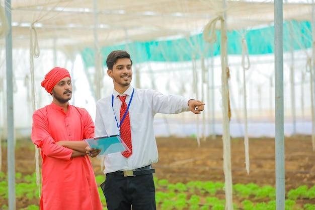 若いインドの農学者と農民が温室やポリハウスで話し合う