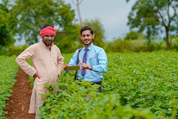 Young indian agronomist or banker using smartphone at agriculture field.