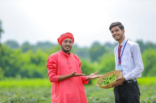 Молодой индийский агроном стоит с фермером на поле зеленого перца чили