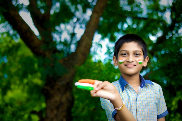 Young indian child with indian flag on face