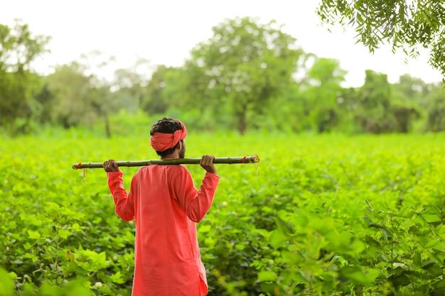 バナナ畑の若いインドの農夫