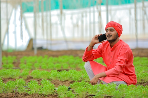 Young indian farmer talking on smartphone at poly house