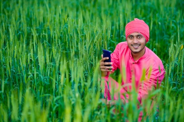 小麦畑でスマートフォンを使用して若いインドの農民