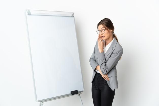 화이트 보드에 프레젠테이션을하고 뭔가를 속삭이는 흰 벽에 고립 된 젊은 아일랜드 여자