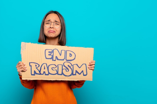 Young latin woman. end racism concept