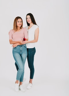 Young lesbian couple with ring