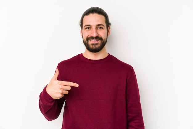 Young long hair man person pointing by hand to himself