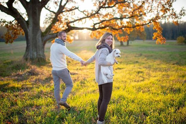 Молодая влюбленная пара гуляет со своим маленьким щенком в осеннем поле на закате