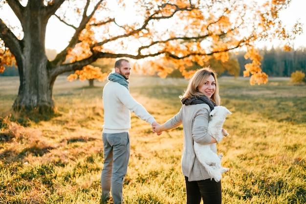 夕暮れの秋のフィールドで彼らの子犬と一緒に歩いている若い夫婦