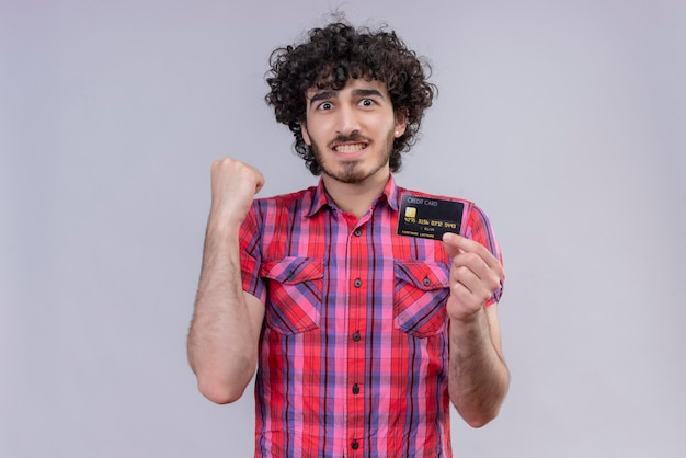 Young male curly hair isolated  colorful shirt bank card