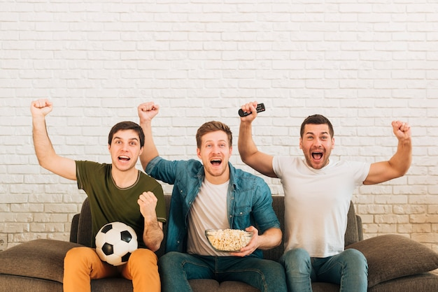 Young male friends cheering while watching soccer match on television