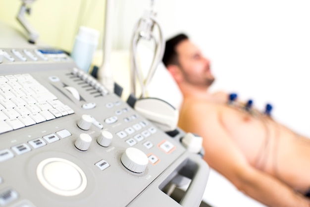 Young male patient in the ultrasound examination at hospital