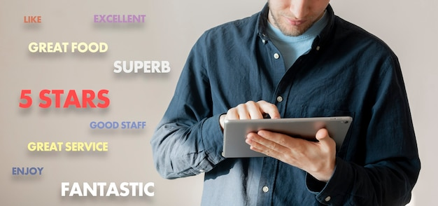 A young male person holding a phone and rate the service quality, customer experience